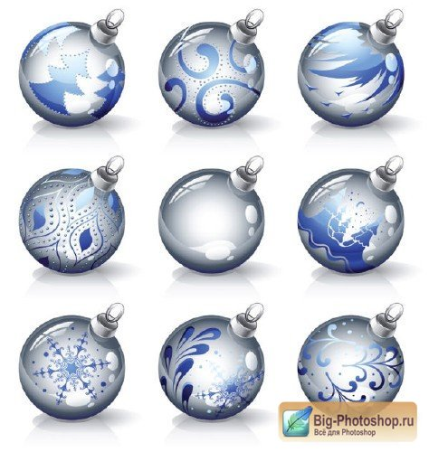 Crystal Christmas Ornaments Vector