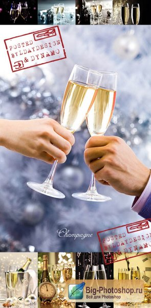 Растровый Клипарт: Stock Photo - Celebrating the New Year eve with champagne