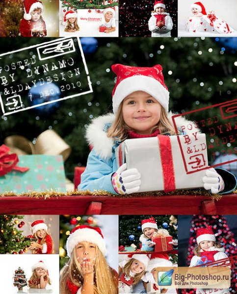 Stock Photo - Santa little helpers with christmas gifts