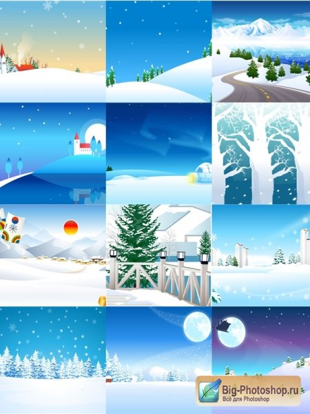 Collection of winter backdrops