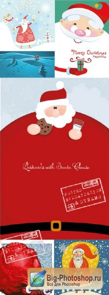 Stock Vectors - Xmas and New Year postcards with Santa claus
