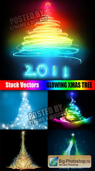 Stock Vectors - Glowing Xmas Tree