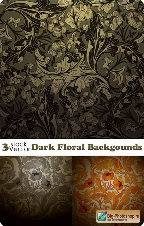 Dark Floral Backgounds Vector