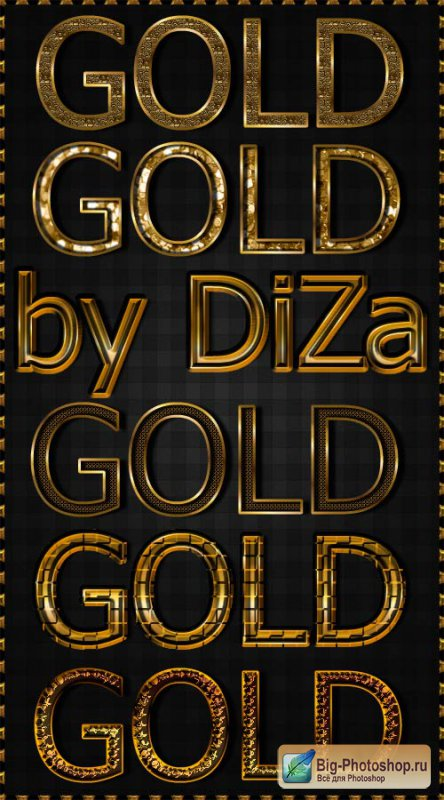 6 gold text styles