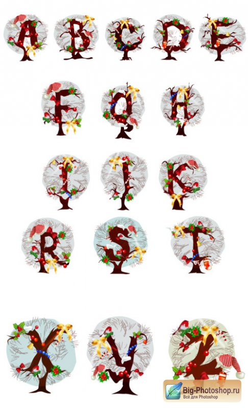Christmas tree letters