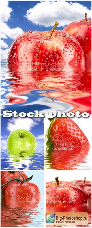 Фрукты в капельках воды / Fruits in water droplets - Raster clipart
