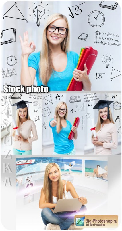 Студентка, девушка с ноутбуком / Student girl with a laptop - Raster clipart
