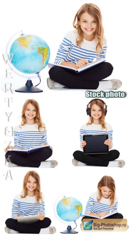 Девочка с книгой и глобусом / Girl with a book and a globe - Raster clipart