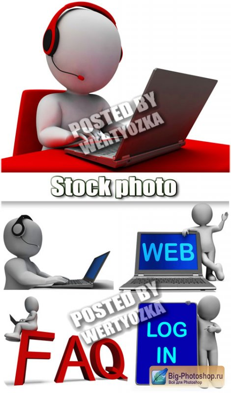 3D люди с ноутбуком и планшетом / 3D people with a laptop and a tablet - stock photos