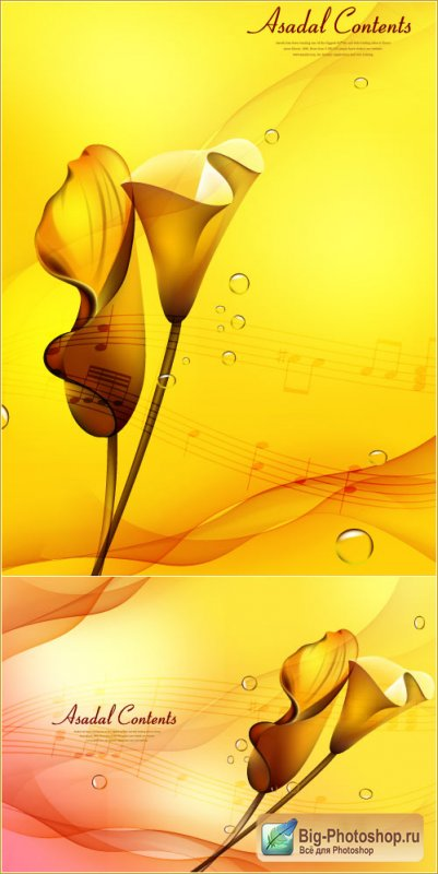 Golden Calla flower backgrounds (Vector)