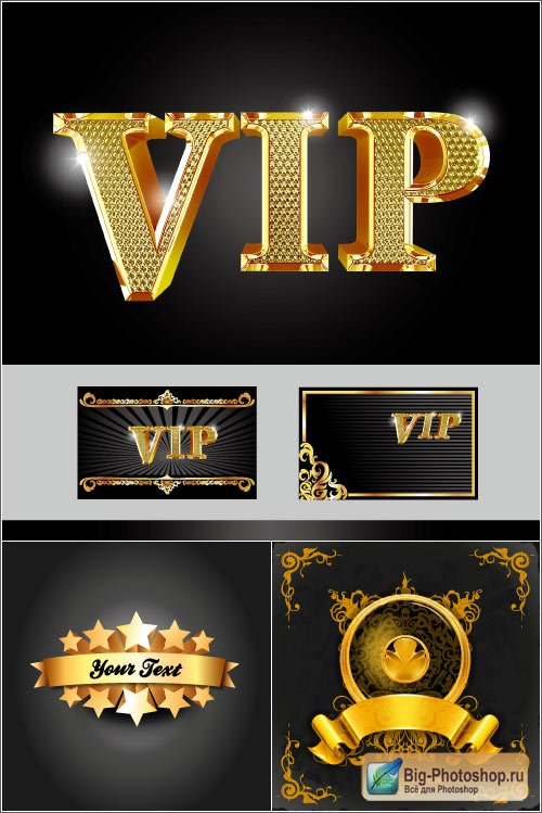 Gold vip cards ornaments vector