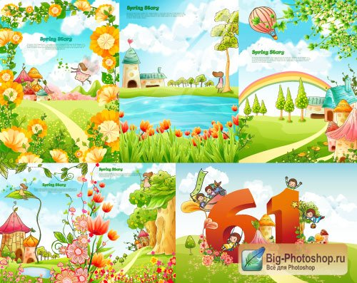 Cartoon pictures floral vector