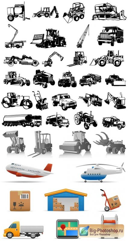 Silhouettes helicopter excavator loader truck vector