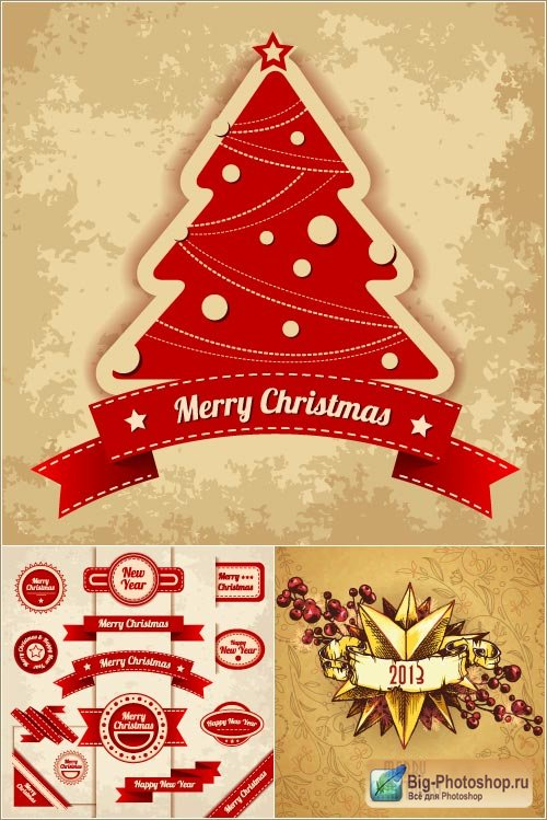 Background with Christmas tree (vector)