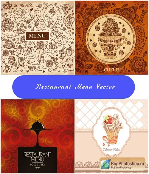 Menu restaurant flowers (vector)