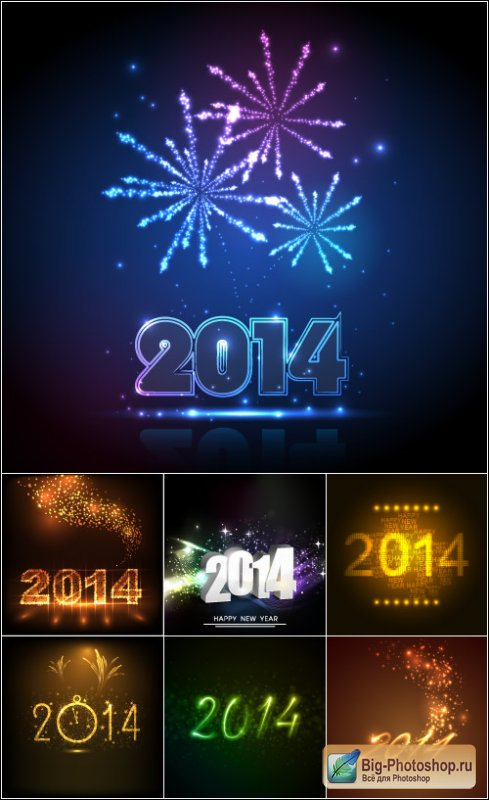 New year logo 2014  2 vector