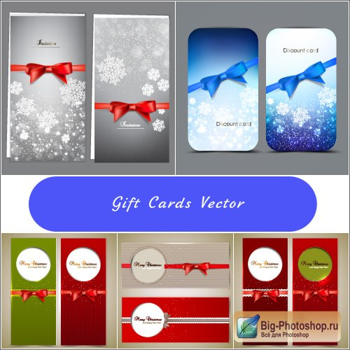 Blue gift cards with snowflakes and ribbons (vector)