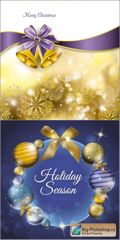 Golden Christmas card with bells and balls (vector)