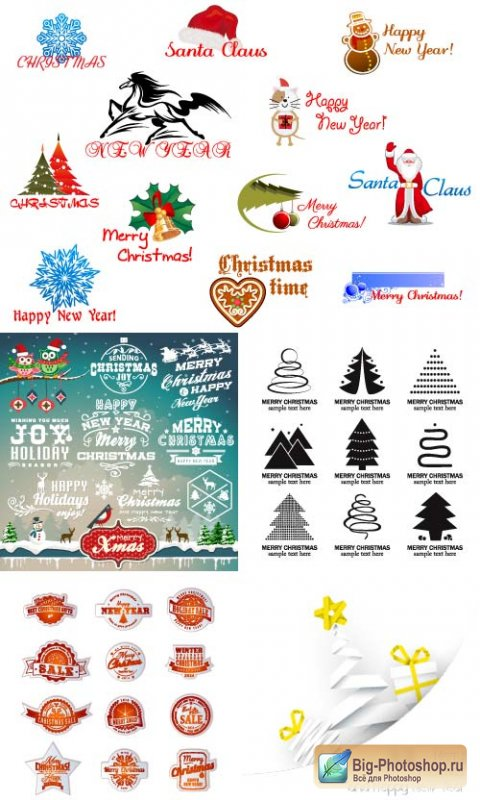 Stickers patterns with Santa Claus (vector)