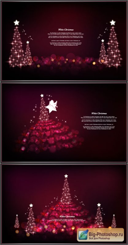 Backgrounds Christmas tree with lights of stars angels with wings (vector)