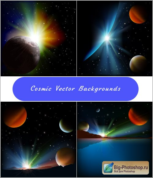 Space backgrounds Northern lights planets Vector