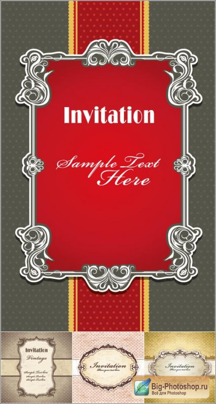Invitation white frame of the pattern vector
