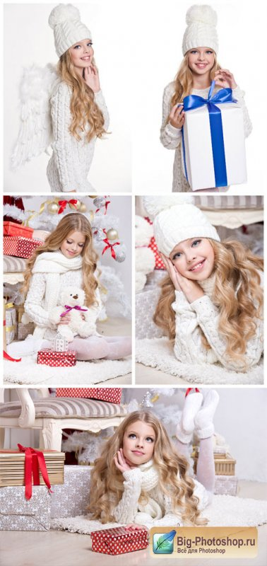 Girl with white wings, new year - stock photos