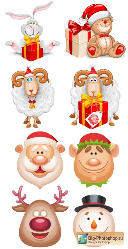 Christmas head elements vector