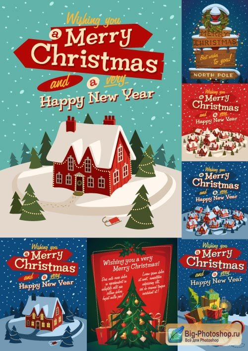 Christmas backgrounds vector House