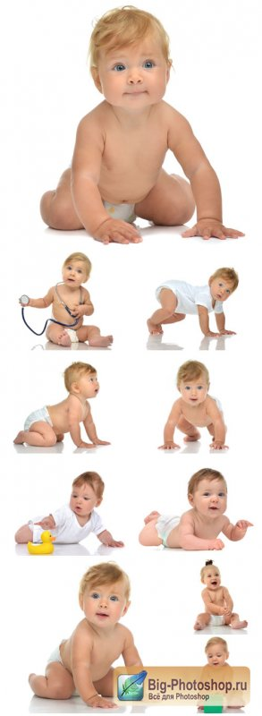 Baby in diaper crawling happy on a white background - Stock photo