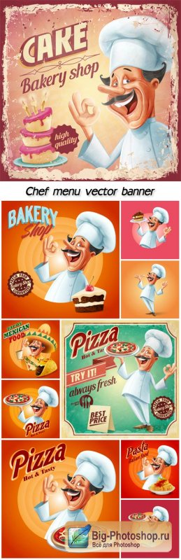 Chef menu vector banner