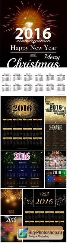 Calendar 2016 on a black background
