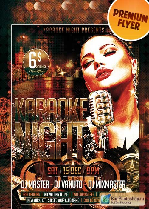 Karaoke Night Premium Club flyer PSD Template