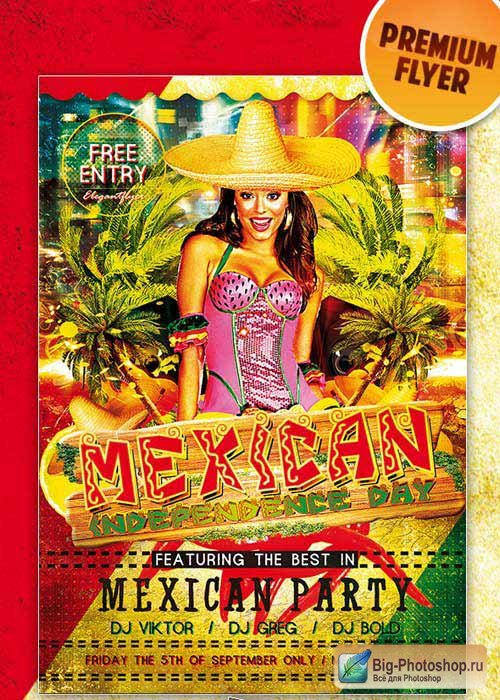 Mexican Party Premium Club flyer PSD Template
