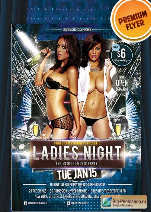 Ladies Night Premium Club flyer PSD Template_2