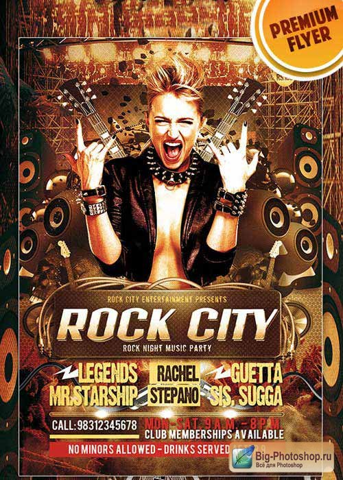 Rock City Premium Club flyer PSD Template