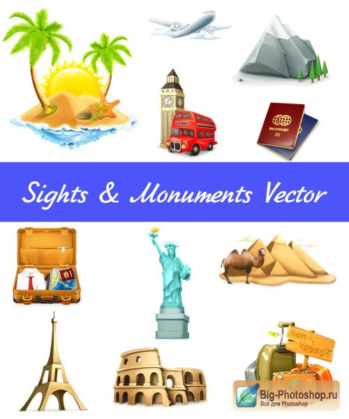 Travel sight palm Statue of Liberty is Eiffel Tower Vector