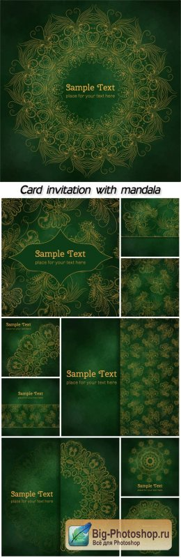 Card or menu or invitation with mandala