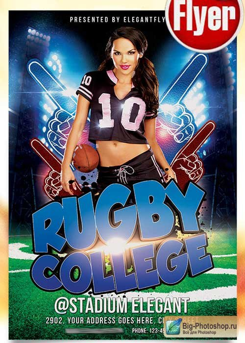 Rugby Game Flyer PSD Template + Facebook Cover