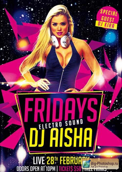 Fridays Electro Sound Party Premium Flyer Template