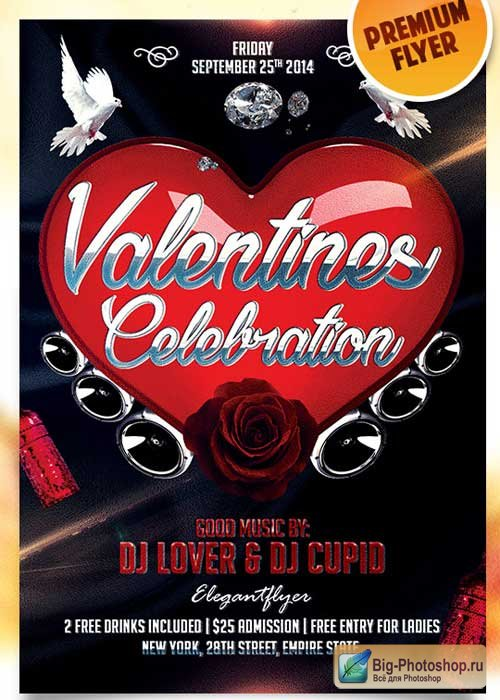 Valentine Celebration Flyer PSD Template + Facebook Cover