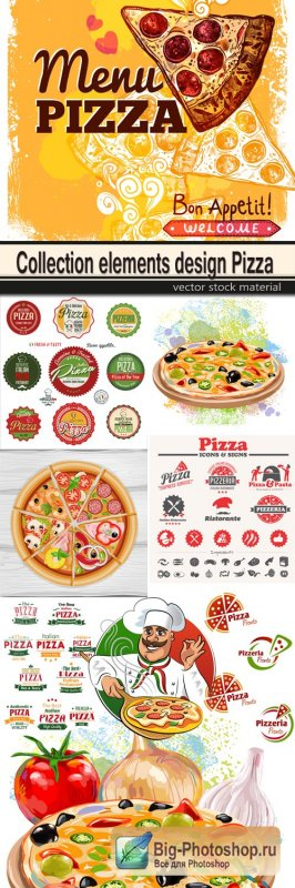 Collection elements design Pizza
