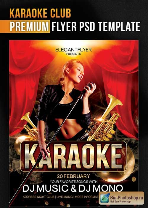 Karaoke Club Flyer PSD Template + Facebook Cover