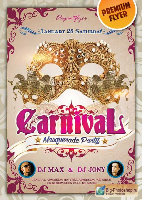 Carnival Masquerade Party Premium Club flyer PSD Template