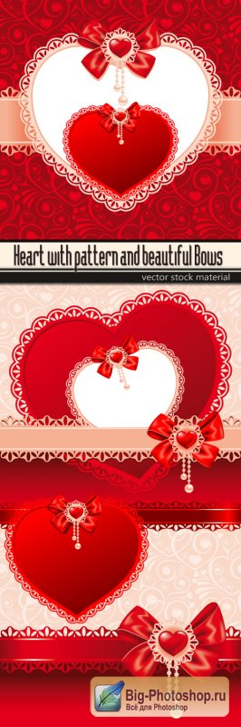 Heart with pattern and beautiful Bows