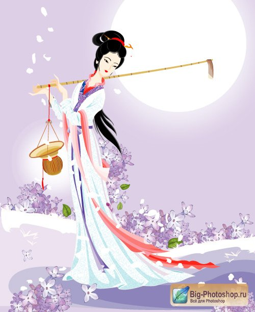Geisha girls floral (Vector)