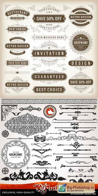 Vintage decorative patterns invitation (Vector)