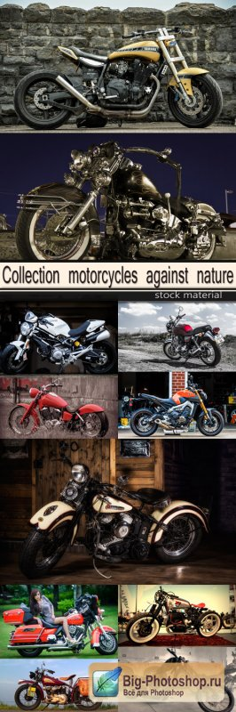 Collection motorcycles against nature