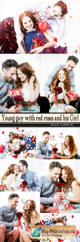 Young guy with red roses and his Girl
