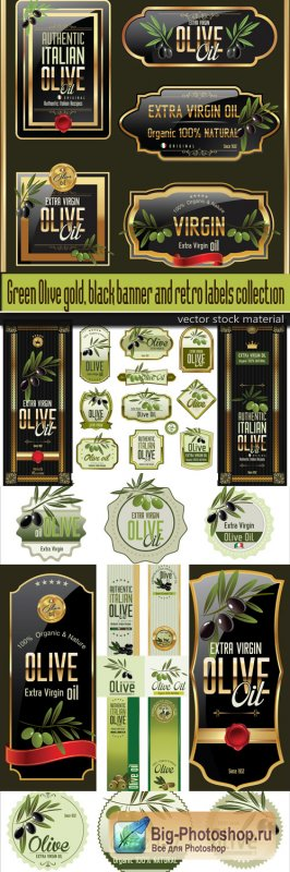 Green Olive gold, black banner and retro labels collection